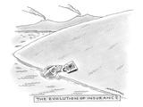 A fish reaches out from the water holding a briefcase. - New Yorker Cartoon Premium Giclee Print by Mick Stevens