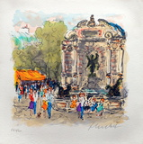 Paris, La Fontaine Saint Michel Collectable Print by Urbain Huchet