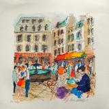 Paris, La Place De La Contrescarpe Collectable Print by Urbain Huchet
