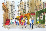 Paris, La Rue De La Huchette Collectable Print by Urbain Huchet