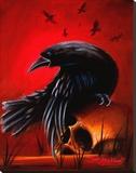 Crow Reproduction transférée sur toile par James Strickland