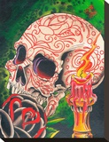 Skull & Candle Stretched Canvas Print by 2 Cents