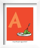 A - Do You Like Green Eggs and Ham (on red) Prints by Theodor (Dr. Seuss) Geisel