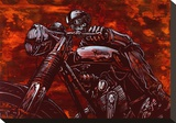 Cafe Racer Stretched Canvas Print by David Lozeau