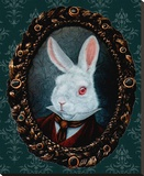 White Rabbit Stretched Canvas Print by  Larkin