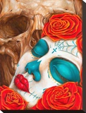 Skull & Roses Stretched Canvas Print by Eric Quezada