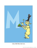 M - I Do So Like Them, Sam I Am. (on blue) Prints by Theodor (Dr. Seuss) Geisel