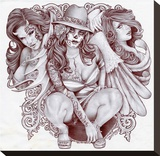 Tres Chicanas Stretched Canvas Print by Mouse Lopez