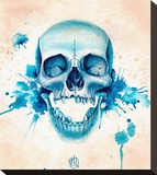 Blue Skull Stretched Canvas Print by Christina Ramos