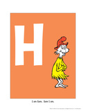 H - I Am Sam. Sam I Am. (on orange) Prints by Theodor (Dr. Seuss) Geisel