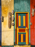 Colorfully Painted Building Decorated with Masks, Ubud, Bali, Indonesia Photographic Print by Tom Haseltine