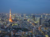 Sunset Aerial of Downtown Including Tokyo Tower and Rainbow Bridge, Tokyo, Japan Photographic Print by Josh Anon