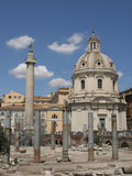 Forum of Trajan, Trajan's Column, Ruins of Basilica Ulpia and Church of Santo Apostolli Photographic Print by Prisma Archivo