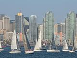 Fleet of Sailboats and Skyline of San Diego, California, Usa Fotografie-Druck von Bill Bachmann