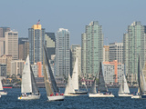 Fleet of Sailboats and Skyline of San Diego, California, Usa Photographic Print by Bill Bachmann