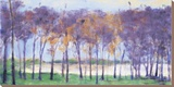 Grove And Lake Stretched Canvas Print by Ken Elliott