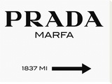 Prada Marfa Sign Stretched Canvas Print by  Elmgreen and Dragset
