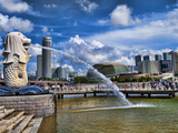 Symbol of Singapore and Downtown Skyline in Fullerton Area, Clarke Quay, Merlion Photographic Print by Bill Bachmann