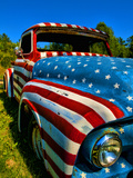 Old Ford Truck Painted with American Flag Pattern, Rockland, Maine, Usa Fotografie-Druck von Bill Bachmann