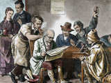 Reading the Newspaper in the Tavern, Colored Engraving, 1876. Photographic Print by Prisma Archivo 
