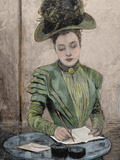 Lady Writing a Letter, Colored Engraving from 1888 Photographic Print by Prisma Archivo