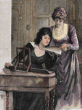Women with a Harpsichord. Colored Engraving, 1895 Photographic Print by  Prisma Archivo