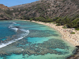 Aerial of Hanauma Bay Reef Snorkelers Near Oahu, Hawaii Photographic Print by Bill Bachmann
