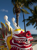 Red Dragon Boat on Waikiki Beach, Honolulu, Hawaii, Usa Photographic Print by Bill Bachmann