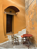 Sidewalk Table Setting, Chania, Crete, Greece Photographic Print by Adam Jones