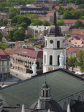Royal Palace and Vilnius Cathedral, Gediminas Hill Elevated View of Old Town, Vilnius, Lithuania Photographic Print by Walter Bibikow