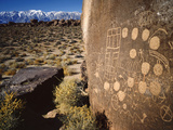 Curvilinear Abstract-Style Petroglyphs and Eastern Sierra Mountains, Bishop, California, Usa Photographic Print by Dennis Flaherty