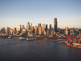 Aerial View of Elliott Bay and Downtown Seattle, Washington, Usa Photographic Print by Greg Probst