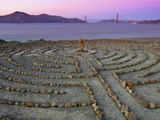 Lands End Labyrinth at Dusk with the Golden Gate Bridge, San Francisco, California Photographic Print by Jim Goldstein