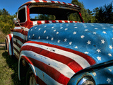 Old Ford Truck Painted with American Flag Pattern, Rockland, Maine, Usa Photographic Print by Bill Bachmann