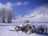 Old Snow-Covered Wagon in the Owens Valley, Bishop, California, Usa Photographic Print by Dennis Flaherty