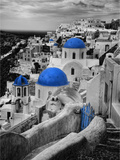 Bell Tower and Blue Domes of Church in Village of Oia, Santorini, Greece Photographic Print by Darrell Gulin