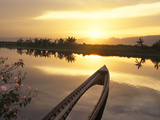 Sunken Fishing Boat Reflecting the Sunset on Inle Lake, Burma Photographic Print by Brian McGilloway