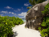 Popular Anse Source D'Agent White Sand Beach, Island of La Digue, Seychelles Fotografisk tryk af Cindy Miller Hopkins