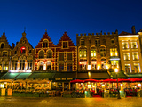 Cafes in Downtown Bruges Marketplace, Belgium Photographic Print by Bill Bachmann