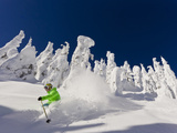 Skiing Untracked Powder on a Sunny Day at Whitefish Mountain Resort, Montana, Usa Fotografisk tryk af Chuck Haney