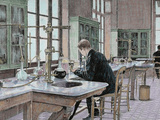 French Chemist and Bacteriologist. Study of Microbes in the Pasteur Institute Photographic Print by Prisma Archivo