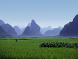 Farmland with the Famous Limestone Mountains of Guilin, Guangxi Province, China Photographic Print by Charles Sleicher