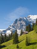 Jungfrau Massif and Swiss Chalet Near Murren, Jungfrau Region, Switzerland Photographie par Michael DeFreitas