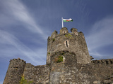 Welsh Flag on Conwy Castle (Circa 1287), Conwy, Wales Photographic Print by David Wall