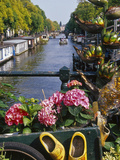 Flower Filled Cart with Houseboats and Canal, Amsterdam, North Holland, the Netherlands Photographic Print by Tom Haseltine