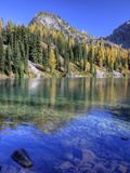 Blue Lake with Golden Larch Trees, Wenatchee National Forest, Washington, Usa Photographic Print by Jamie &amp; Judy Wild