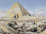 Pyramids and Sphinx, Egypt. Colored Engraving, 1879 Photographic Print by  Prisma Archivo