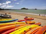 Kayaks on Beach, Paihia, Bay of Islands, Northland, North Island, New Zealand Photographic Print by David Wall