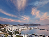 Mykonos Harbor at Sunset, Mykonos, Greece Photographic Print by Adam Jones