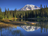 Mt. Rainier Reflected in Reflection Lake, Mt. Rainier National Park, Washington, Usa Photographic Print by Jamie & Judy Wild